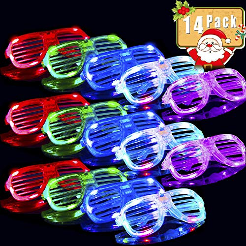 (2019 New Year Eve Flashing Glasses Christmas Party Favors Supplies,14 Pack Glow in The Dark Glasses Slotted & Shutter Shades Light Up Shades Show Toy Glasses for Kids Men Women)