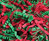 Custom & Unique {10 Pound} of Crinkle Cut Shredded Gift Basket Filler Paper w/ Simple Classic Festive Christmas Eve Traditional Colored Decorative Fun Jolly Seasonal Design (Red & Green)