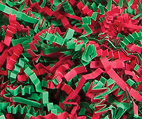 Custom & Unique {10 Pound} of Crinkle Cut Shredded Gift Basket Filler Paper w/ Simple Classic Festive Christmas Eve Traditional Colored Decorative Fun Jolly Seasonal Design (Red & Green) by mySimple Products