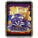 """Officially Licensed NFL Minnesota Vikings Home Field Advantage Woven Tapestry Throw Blanket, 48"""" x 60"""""""