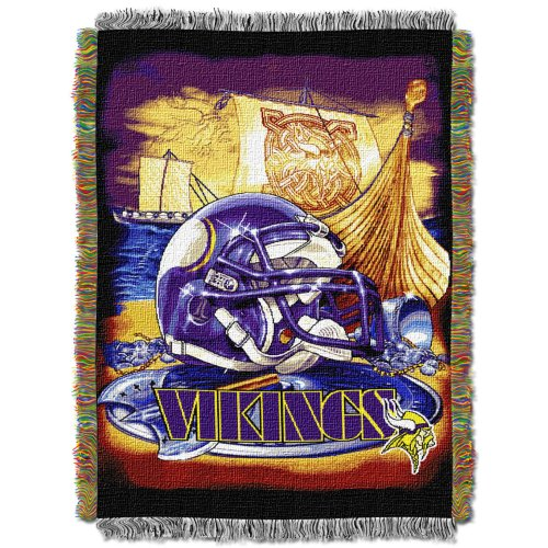 (The Northwest Company Officially Licensed NFL Minnesota Vikings Home Field Advantage Woven Tapestry Throw Blanket, 48