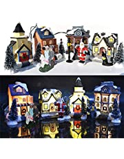 10PCS Christmas Village Set - Christmas Figurine Houses Village Building Sets with LED Light up, Christmas Figurines Accessories Tabletop Ornaments
