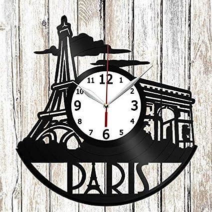 Paris The Eiffel Tower Vinel Record Wall Clock Home Art Decor Original Gift Unique Design Vinyl