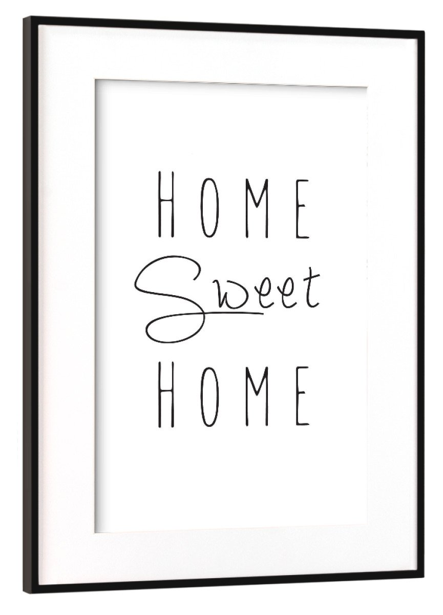ArtboxONE Poster mit Rahmen Schwarz (Metallic) 60x40 cm Home Sweet Home von PlayArt - gerahmtes Poster