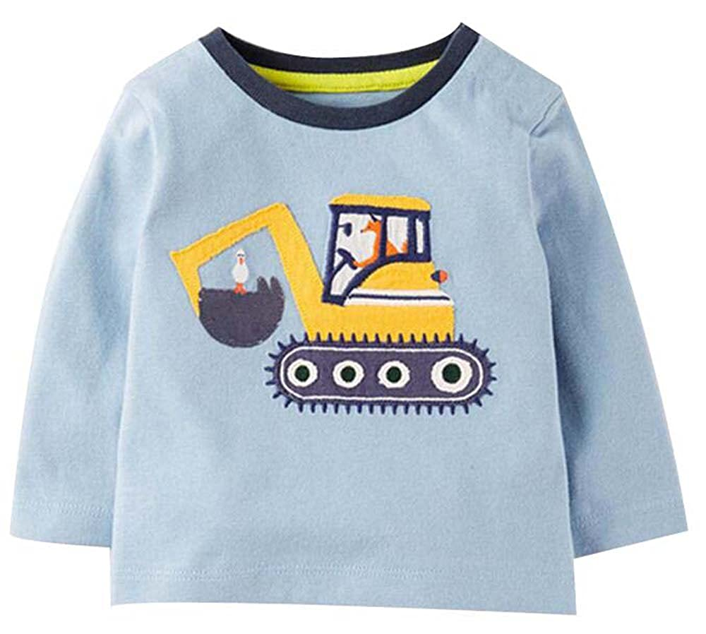 Littleladybug Boys excavator Crewneck Cartoon Long Sleeve T-shirt