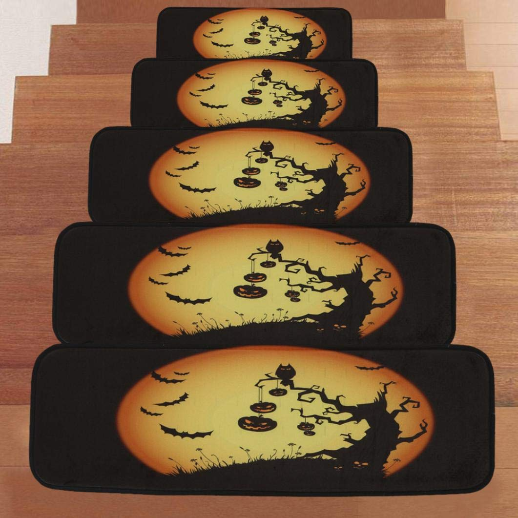 Dacawin Halloween 1Set StepBasic Non-Slip Coral Fleece Resistant Carpet Stair Mat(8.7''x27.6'') (H)
