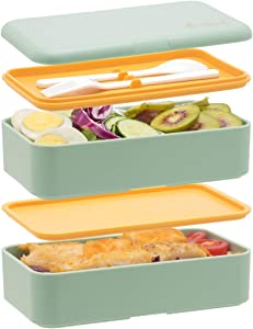 Bento Box For Adults Kids- All-in-One StackablePremium Japanese Adult Bento Box Container With Utensil, Durable Eco-Friendly, Micro-Waves & Freezer Safe, 1200ML(Green)