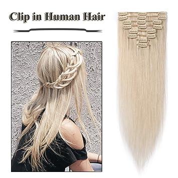 Clip in Hair Extensions Bleach White 14-2