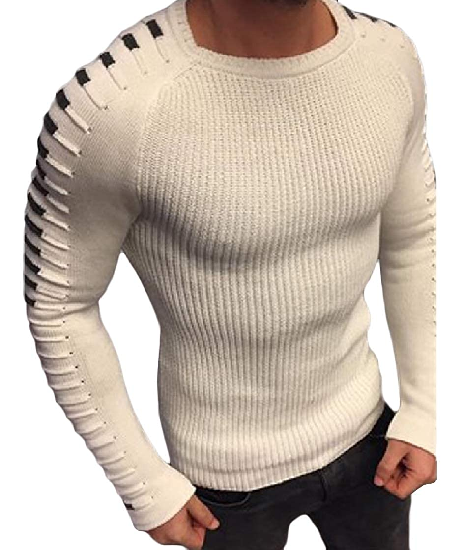 YUNY Men O-Neck Long Sleeve Knitting Splicing Fitness Sweater Pullover White M