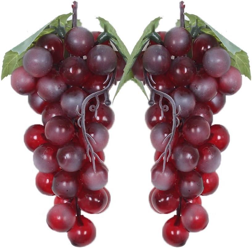 2 uvas decorativas de plástico para vino, uvas, frutos artificiales, frutas y verduras.