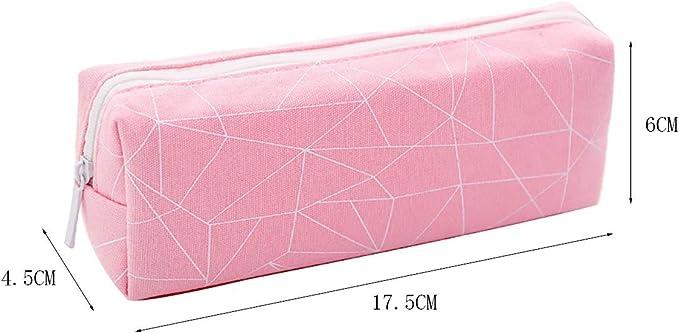 Da.Wa Trousse /à Crayons en Toile Trousse Scolaire Grande Capacit/é Multi-Functional /Étui /à Crayons pour Etudiants Rose