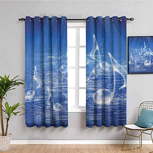 Music Shading Insulated Curtain, Curtains 84 inch Length Magical Water with Musical Notes Bubbles Dancing Waves Fantasy Music More Than Real Theme Indoor Curtain Blue W72 x L84 Inch