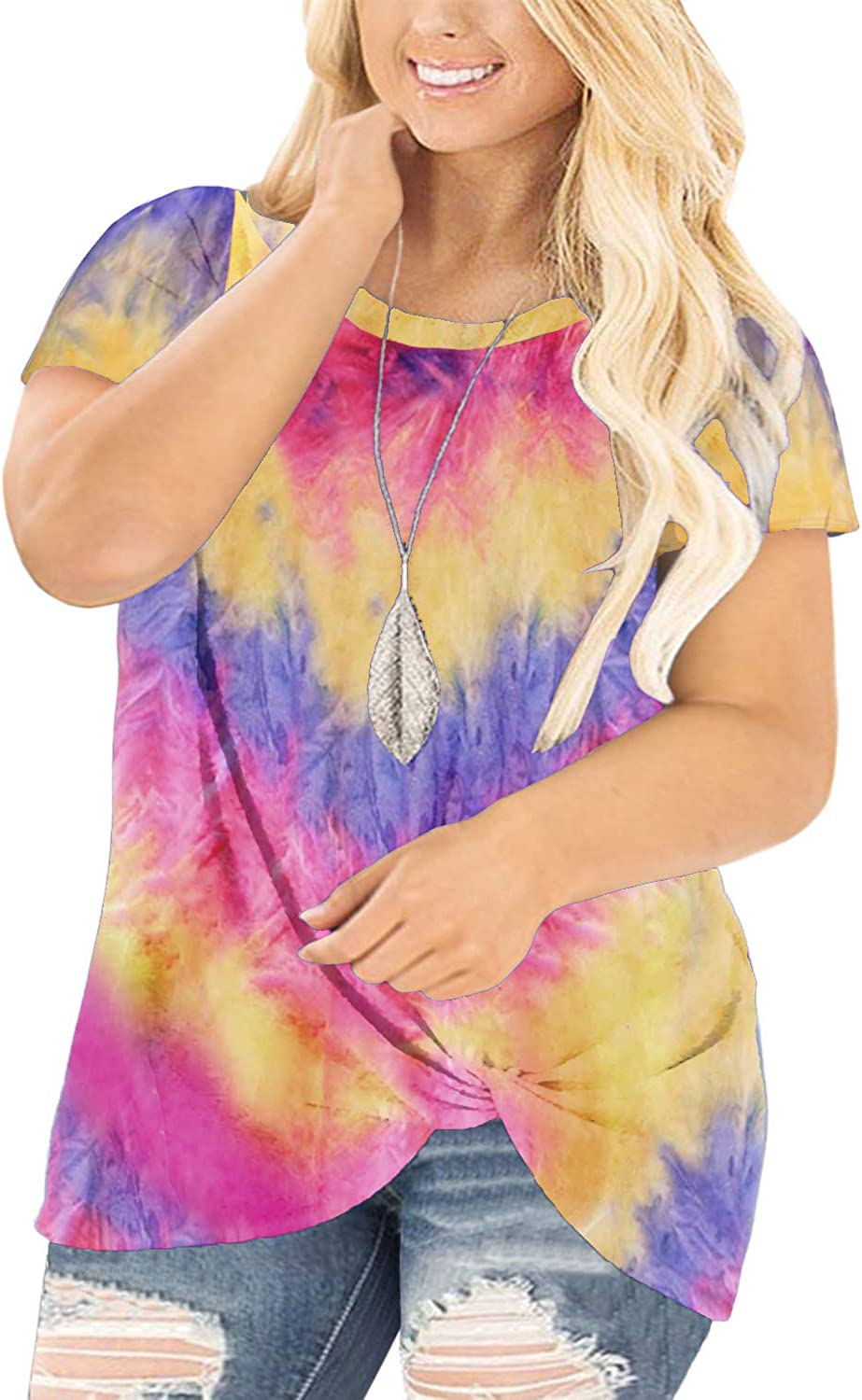 DOLNINE Womens Plus Size Knotted Tops Short Sleeve Tees Casual Tunics Blouses