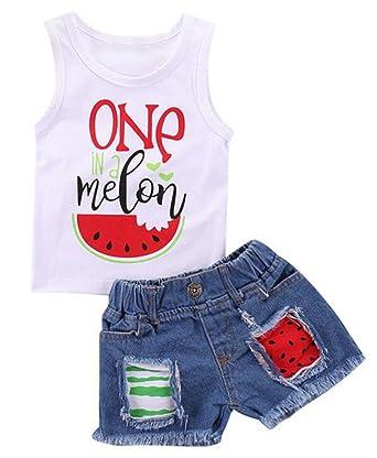 457ac7f5d Amazon.com: Little Girls One in A Melon Watermelon Vest Tank Tops + Tassel  Denim Shorts: Clothing