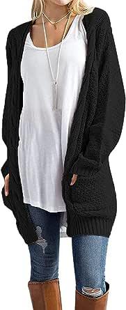 Traleubie Women's Open Front Long Sleeve Boho Boyfriend Knit Chunky Cardigan Sweater