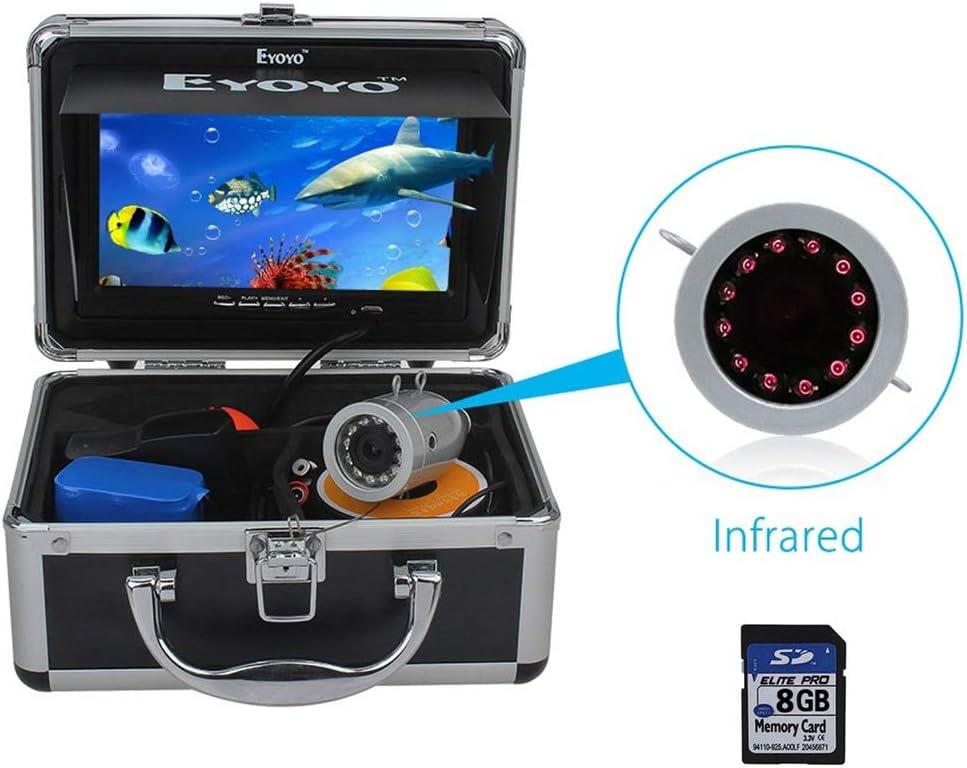 Eyoyo Fishing Camera Video Fish Finder 7 inch LCD Monitor HD 1000TVL Camera 12pcs IR LED DVR 8GB with 30m Cable for Ice Lake Boat Fishing