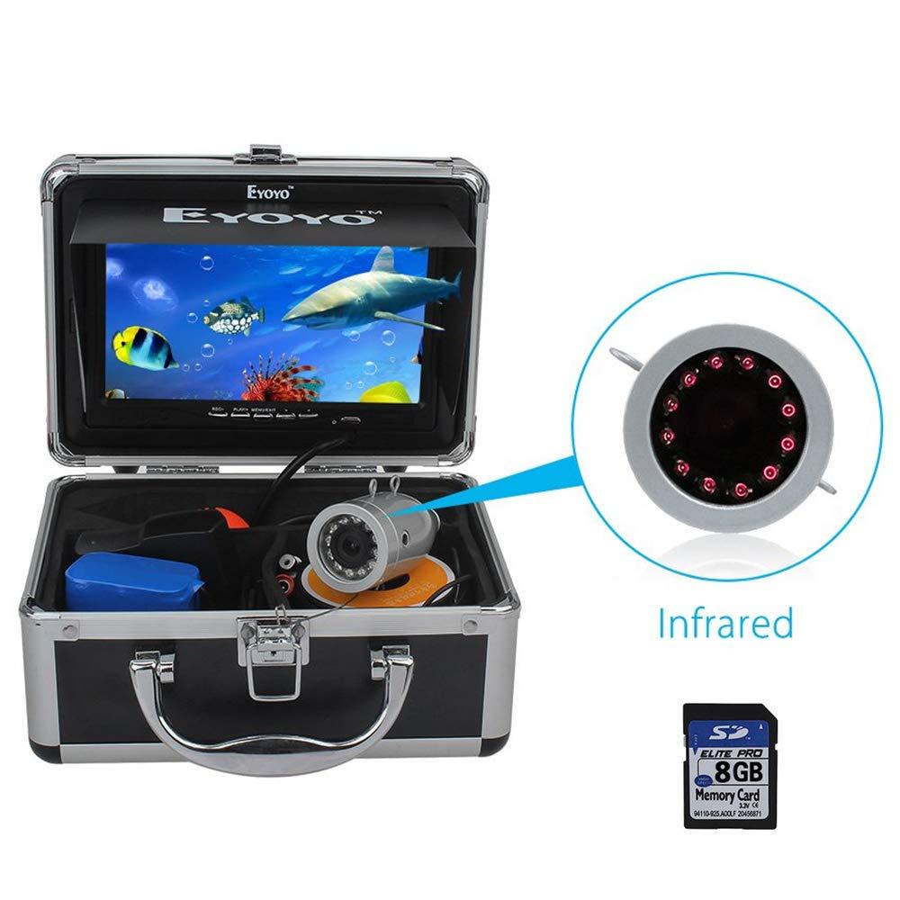Eyoyo Fishing Camera Video Fish Finder 7 inch LCD Monitor HD 1000TVL Camera 12pcs IR LED DVR+8GB with 30m Cable for Ice Lake Boat Fishing by Eyoyo