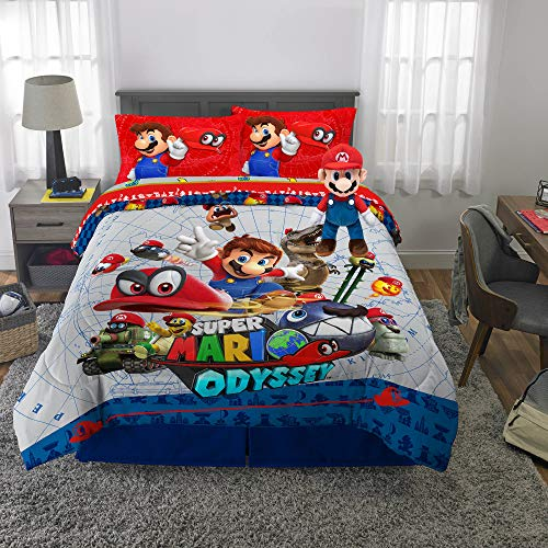 Franco Kids Bedding Super Soft Comforter with Sheets and Plush Cuddle Pillow Set, 6 Piece Full Size, Mario Odyssey