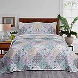 Jml Printed Bedding Quilt Coverlet Set – 3 Piece Ultrasonic Microfiber Bedspread – Soft, Lightweight, Hypoallergenic, Wrinkle Resistant (Full/Queen(86''x86''), 3)