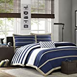 Mi-Zone Ashton Full/Queen Duvet Cover Set Kids Boy - Navy, White, Stripes – 4 Piece Bed Set Cover – Ultra Soft Microfiber Kid Boys Bedding Set