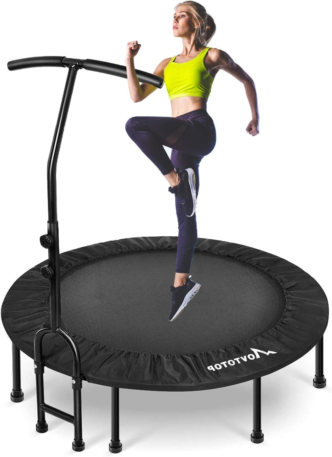 "MOVTOTOP 40"" Foldable Mini Trampoline Rebounder, Indoor Fitness Trampoline with Adjustable Handrail and Safety Pad"