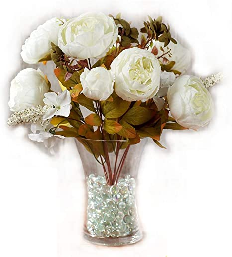Best Artificial 50cm Vintage Silk Flower Peony Spray Bouquet Wedding Home Decoration Arrangement White Amazon Co Uk Kitchen Home