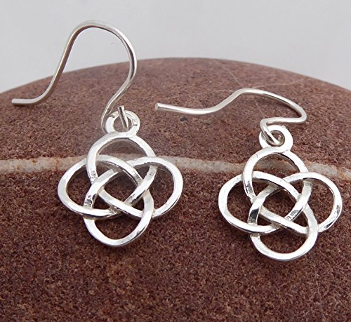 (Sterling Silver Earrings Dangle and Drop Celtic Love Knot Earrings)
