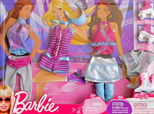 - BARBIE FASHIONS w Shimmery ROLLER SKATING & DANCE CLOTHES, Roller SKATES & More (2009 Mattel Canada)