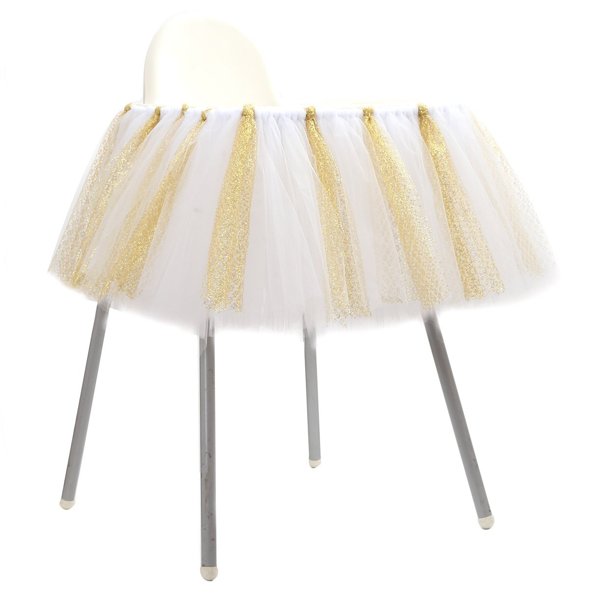 ZL Magic Handmade Glitter Soft Tulle Tutu Skirt High Chair Decoration for Baby 1st Birthday Party Baby Party Supplies (White & Gold - No Banner)