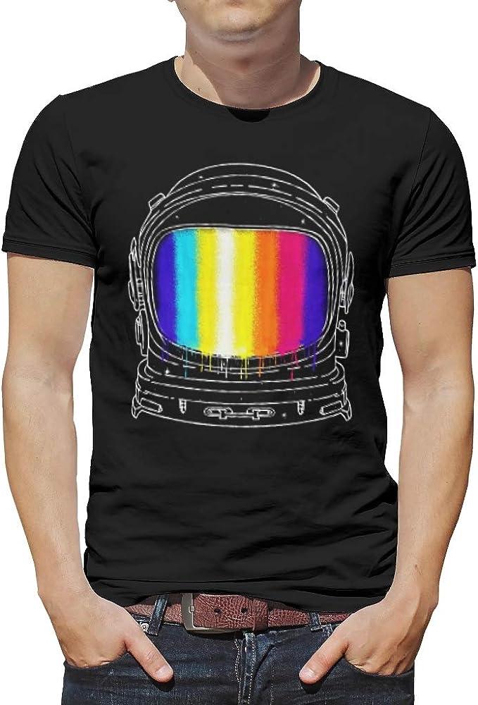 Camiseta para hombre ultra suave, divertida camiseta con diseño de astronautas y arcoíris. blanco S: Amazon.es: Ropa y accesorios