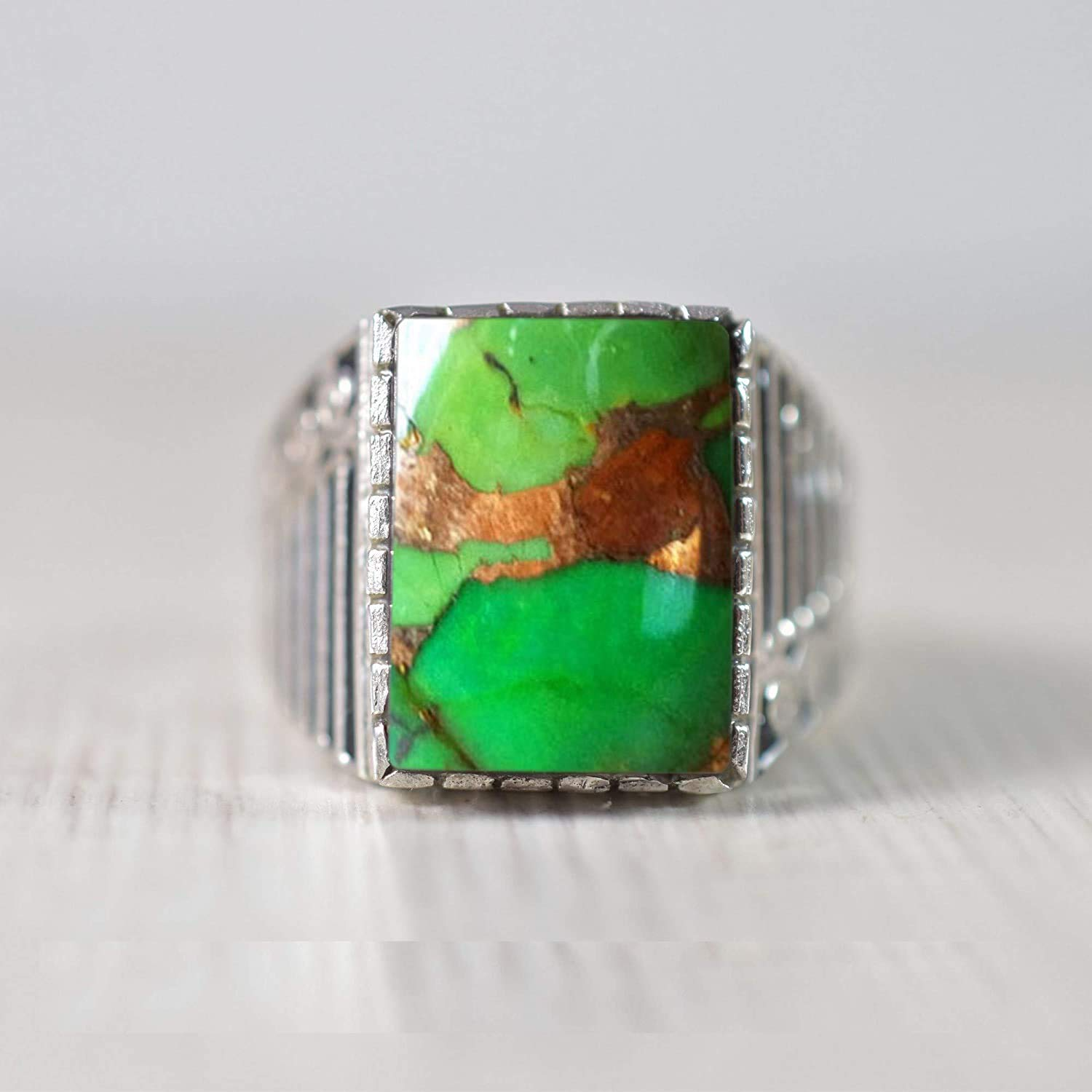 Green Copper Turquoise Oval Shape Gemstone Ring For Father/'s Day Gift 925 Sterling Silver Hand Made Ring Size US 6.5 ar3457