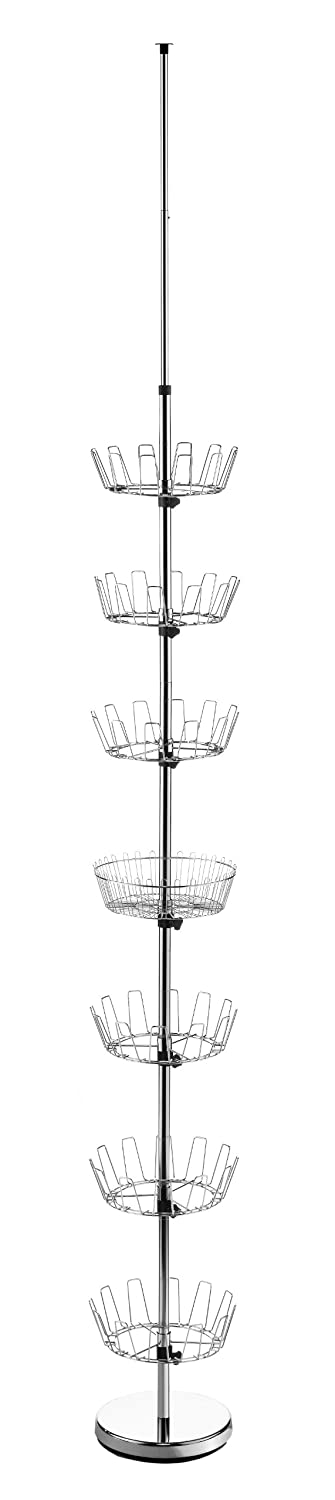 Whitmor 6 Tier Floor-To-Ceiling Shoe Spinner - Adjustable with Basket 6060-4189-BB