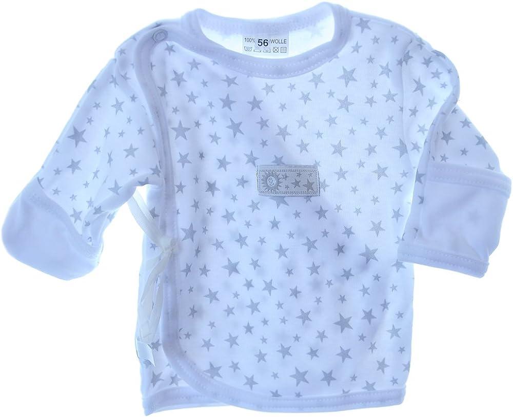 Hemdchen Wickelshirt Babyhemdchen Shirt Fl/ügelhemdchen 56 62 mit Kratzschutz Rosa