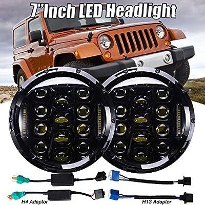 "2Pcs 7"" Inch LED Round Headlights Hi/Lo Beam Projector DRL for Jeep CJ & Wrangler Land Cruiser FJ40"