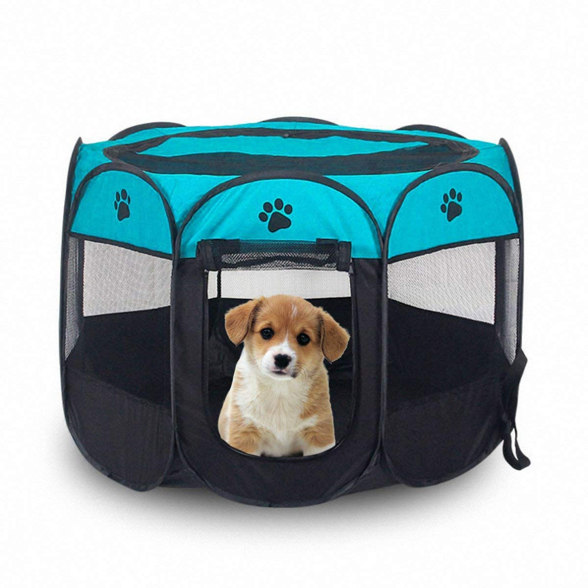 bluee L bluee L MOIMK Pet Portable Foldable Playpen, Exercise 8-Panel Kennel Mesh Shade Cover Indoor Outdoor Tent Fence For Dogs Cats