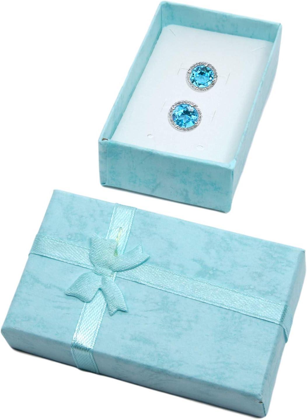 Lot de 24 bo/îtes /à bijoux en carton avec n/œud en ruban pour bagues ou bagues en argent 4,3 x 4,3 cm