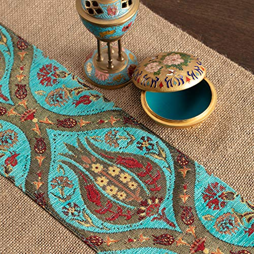 (Fall Burlap Table Runner - Jacquard Fabric Buffet Coffee Entry Table Runners Scarfs for Dresser Console Table Kitchen Rustic Farmhouse Modern Home decor, Turquoise Gold Tablecloth, 15 X 55 Inches)