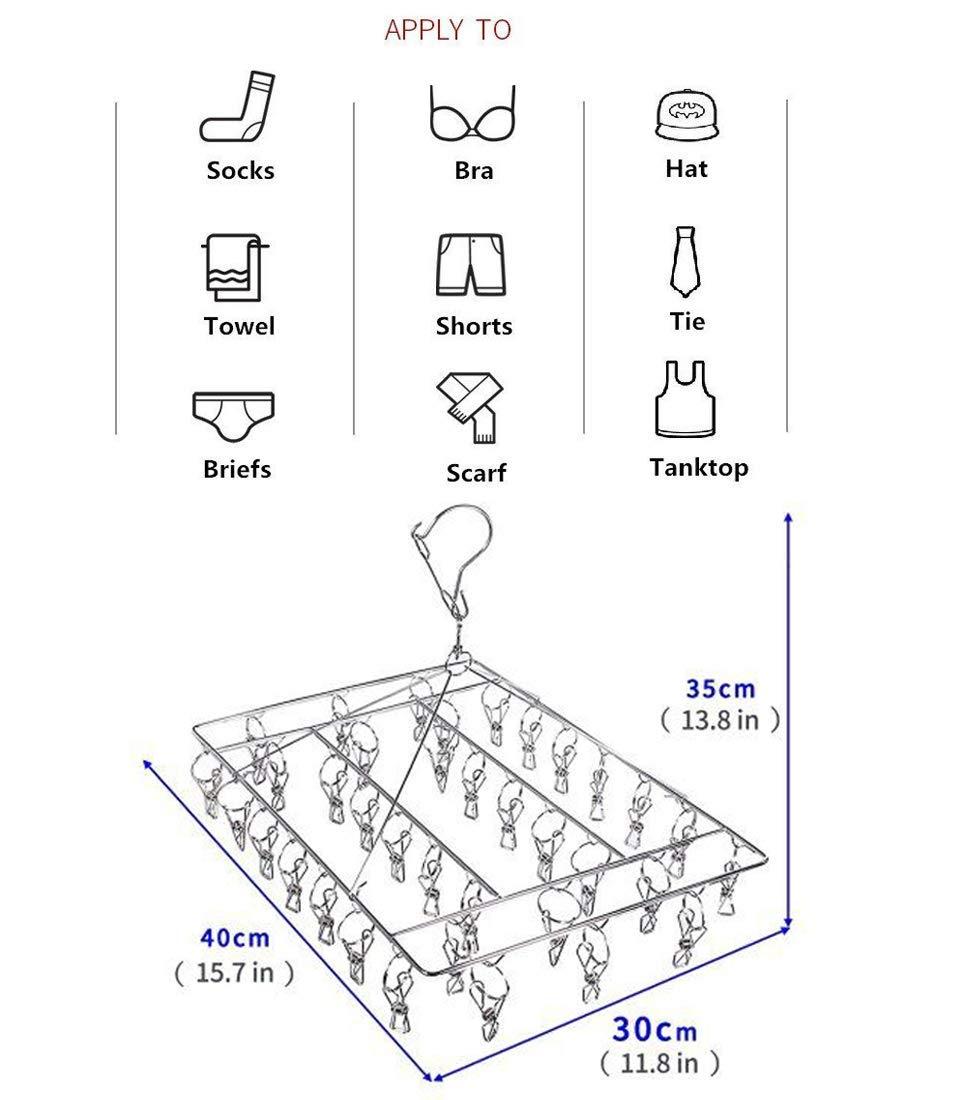 abiti per bambini guanti biancheria intima anti vento Hanger rack per calze Skroad Acciaio inossidabile calzino stendino gancio girevole reggiseni 36/ganci