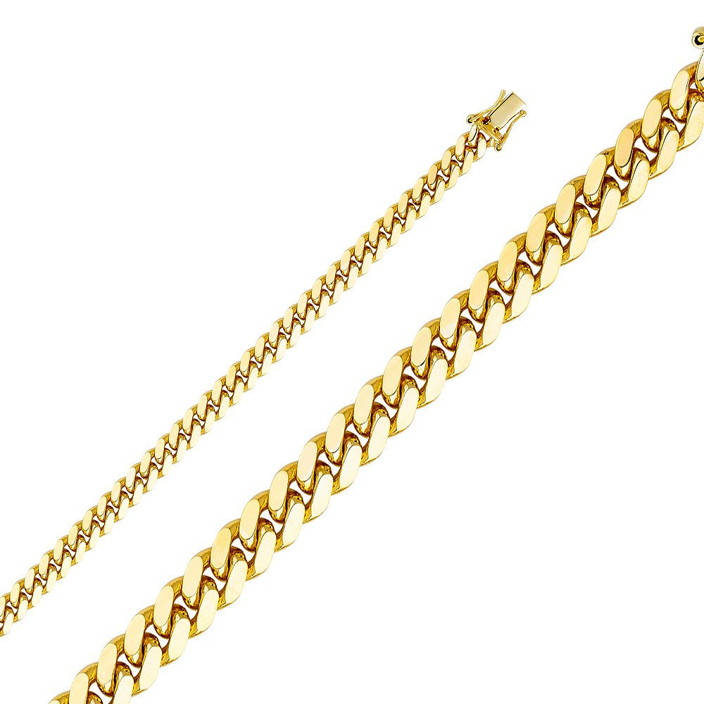 Wellingsale 14k Yellow Gold SOLID 5.5mm Polished Miami Cuban Concaved Curb Chain Bracelet - 8.5''