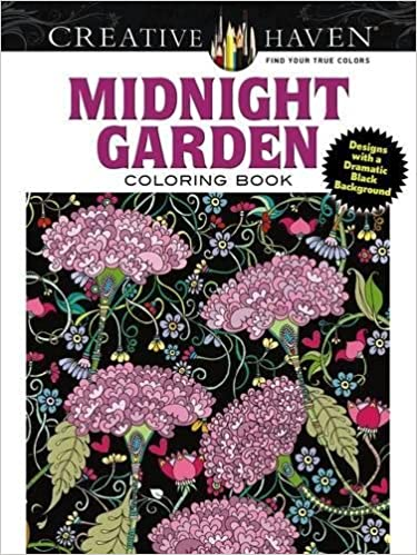 Creative Haven Midnight Garden Coloring Book: Heart & Flower Designs on a Dramatic Black Background (Adult Coloring)