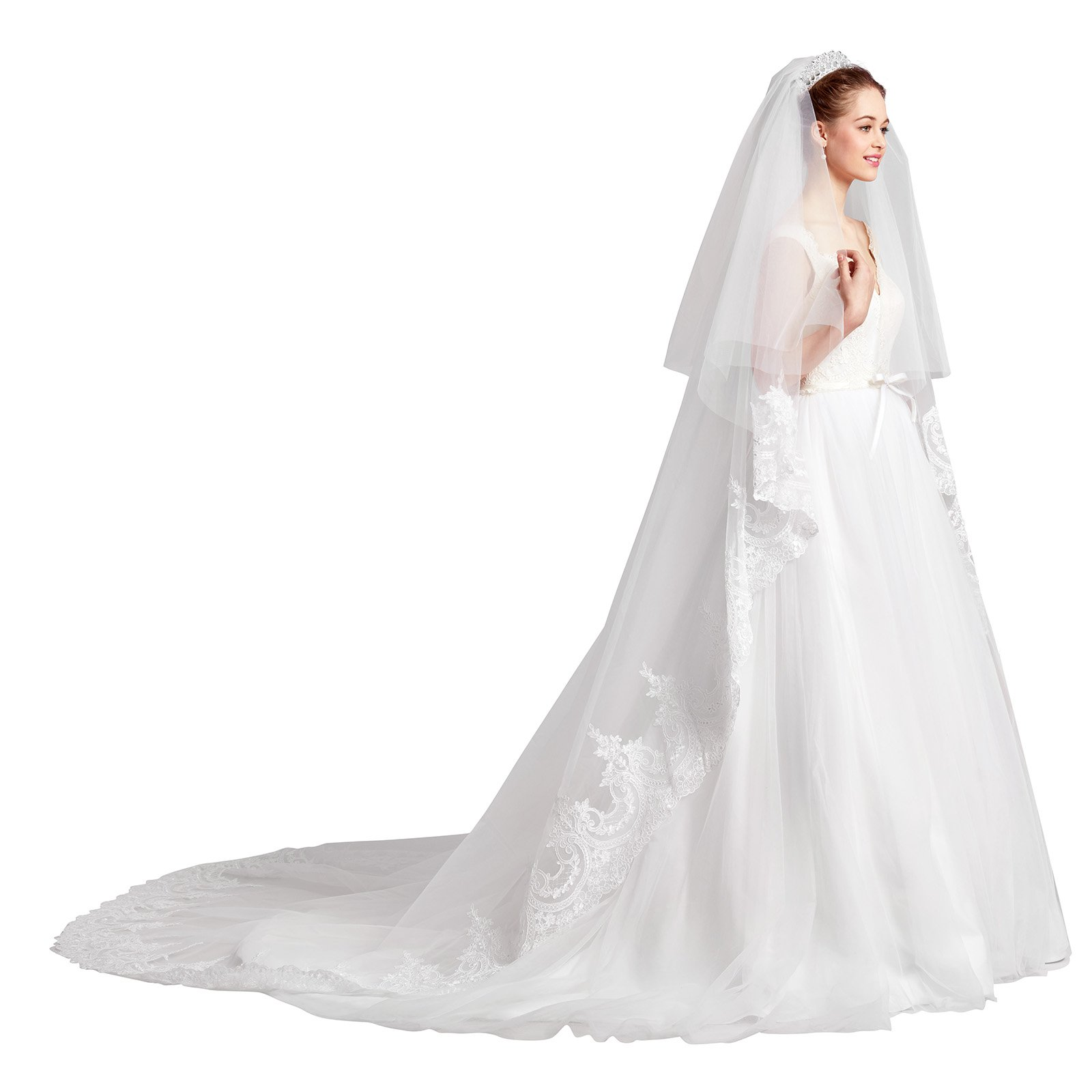 AW 2 Layers Ivory Cathedral Wedding Veil Lace Applique Edged Tulle Bridal Veil with Metal Comb 133''