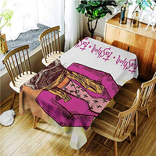 TT.HOME Anti-Fading Tablecloths,Pug Fashion Icon Dog with Cool Clothes Scarf Necklace Jacket Handbag Tainted Background,Fashions Rectangular,W50x80L,Hot Pink Amber