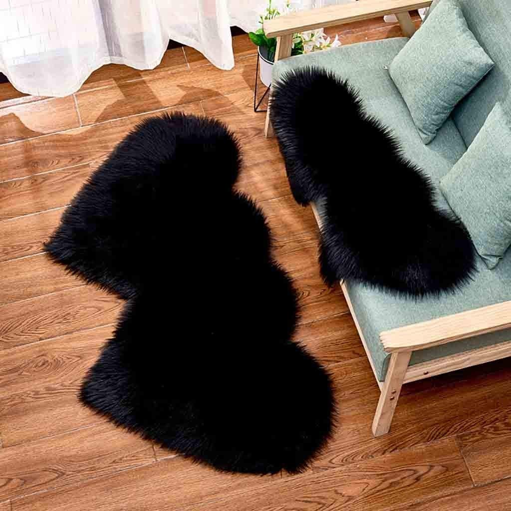 Arrowsy Wool Imitation Sheepskin Rugs Faux Non Slip Bedroom Shaggy Carpet Mats by Arrowsy