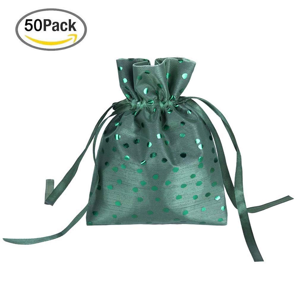 BENLOVE 50Pcs Reusable Sheer Drawstring Organza Gift Bags 5.9'' x 7.87'' for Wedding Party Favor Bags, Jewelry Pouches, Candy Bags, Tulle Bags, Festival,Makeup Organza Favor Bags