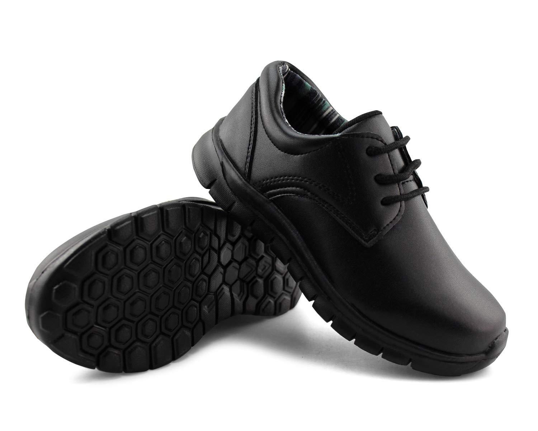 Jabasic Kids Lace-up Uniform Shoes Casual School Dress Shoes (4,Black)