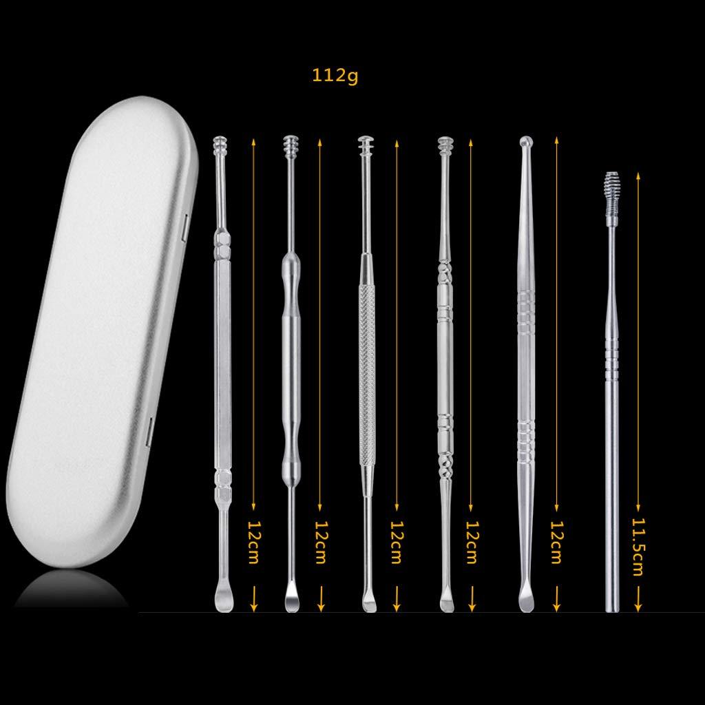 360-Grad-Drehung L/öffel Hellery 6X Edelstahl Ohrreinigungs-Set Ohrenwachs-Entfernungswerkzeug Ohrreiniger