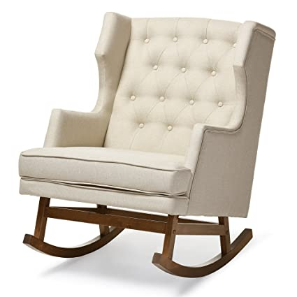 Baxton Studio Iona Mid Century Retro Modern Light Beige Fabric Upholstered  Button Tufted Wingback