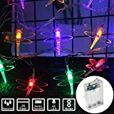 String Lights Night Light Waterproof Dragonfly Lights String Battery Operated String Lights Fairy LED Lights Decorations for Wedding Party Christmas Home Garden Patio (Color, 20Feet 40Led)