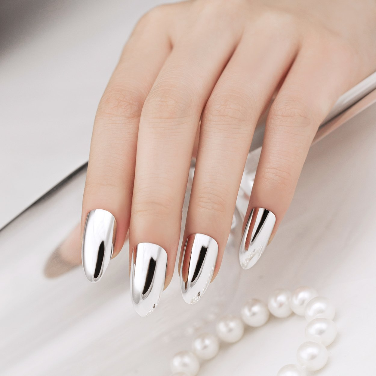 ArtPlus 24pcs Silver Metallic Chrome False Nails with Glue Full Cover Stilleto Fake Nails Art by A+ ArtPlus