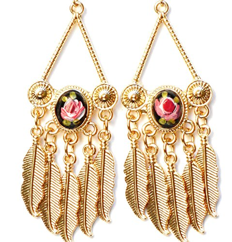 hand-painted-gold-rose-chandelier-dangle-earrings-with-feather-charms